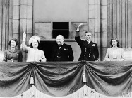 Royal Balcony, Buckingham Palace, with King George, Queen Elizabeth, the two princesses (current Queen Elizabeth II on the far left) and the PM, Winston Churchill
