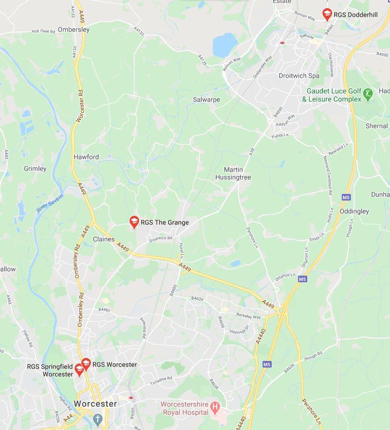 RGS Nurseries in Worcestershire Map