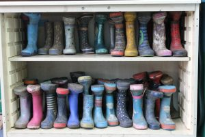 Children's wellies lined up