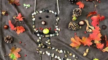 Forest School Artwork with Natural Outdoors Materials