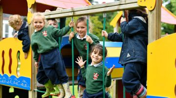 Forest School Pupils Playing Outdoors on Play Area