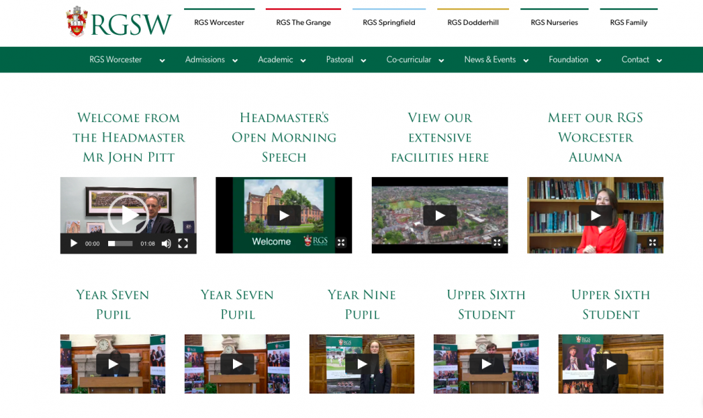 RGS Worcester Virtual Open Morning web page
